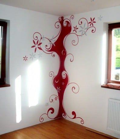 Dormitorio pintado en rojo en Manzanares el Real