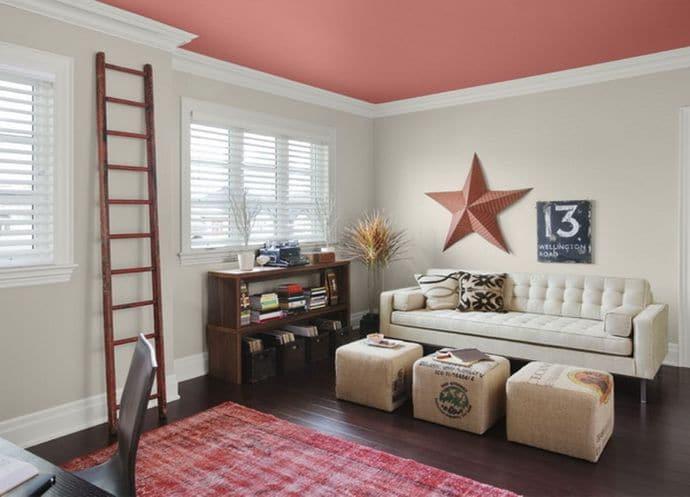 Habitacion con techo pintado en rosa en Los Molinos 1